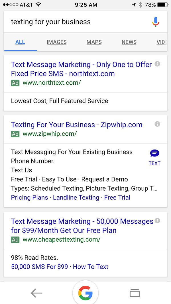 Google Is Testing Texting: Send A Text To Brands Directly From