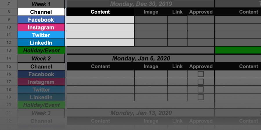 content calendar all channels
