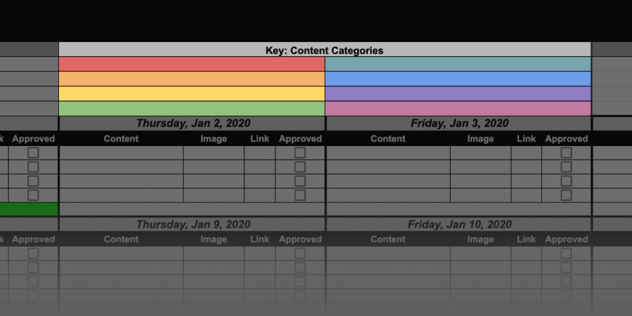content calendar category key