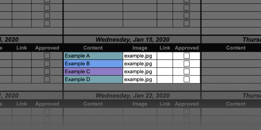 content calendar color coded content