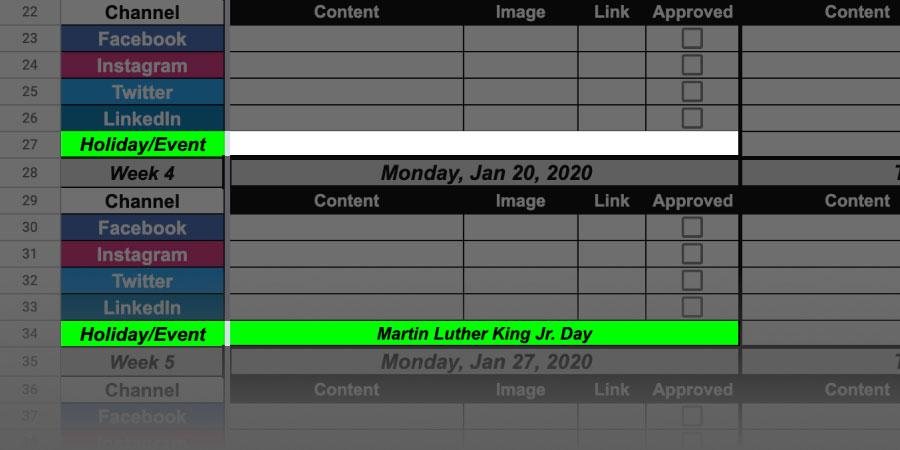 content calendar holidays