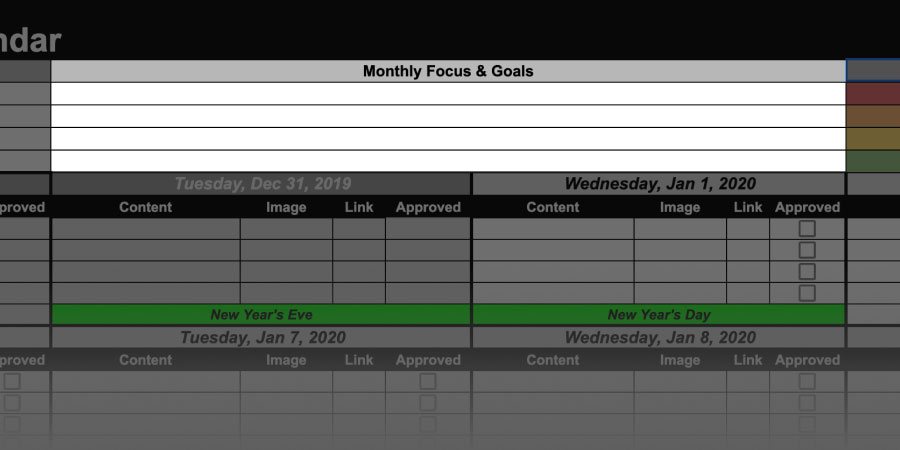 content calendar monthly goals