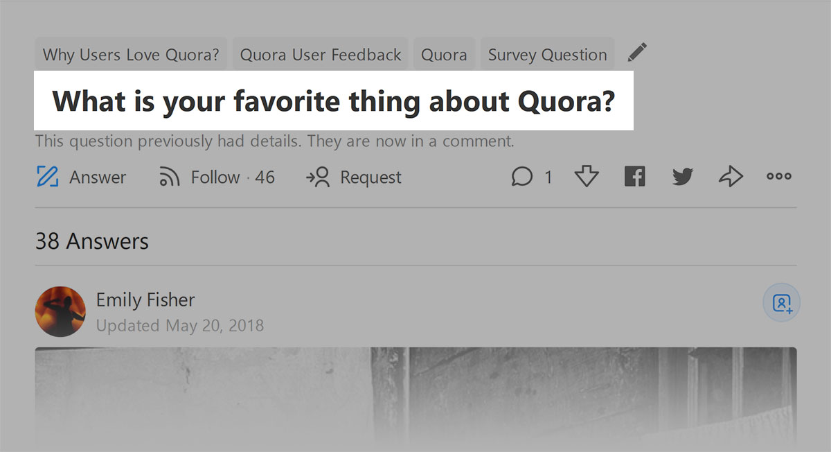Quora - question that prompted the community
