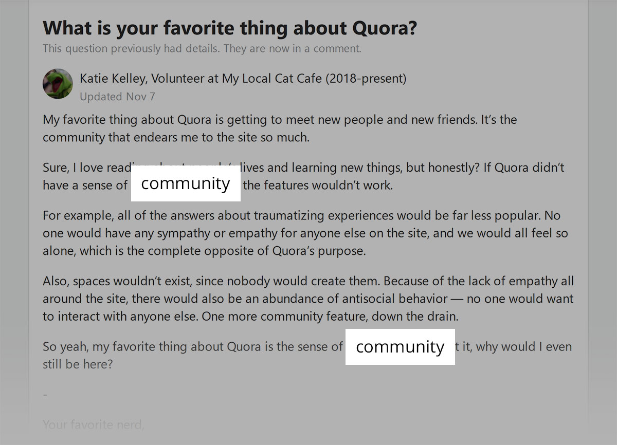 Quora - sense of community