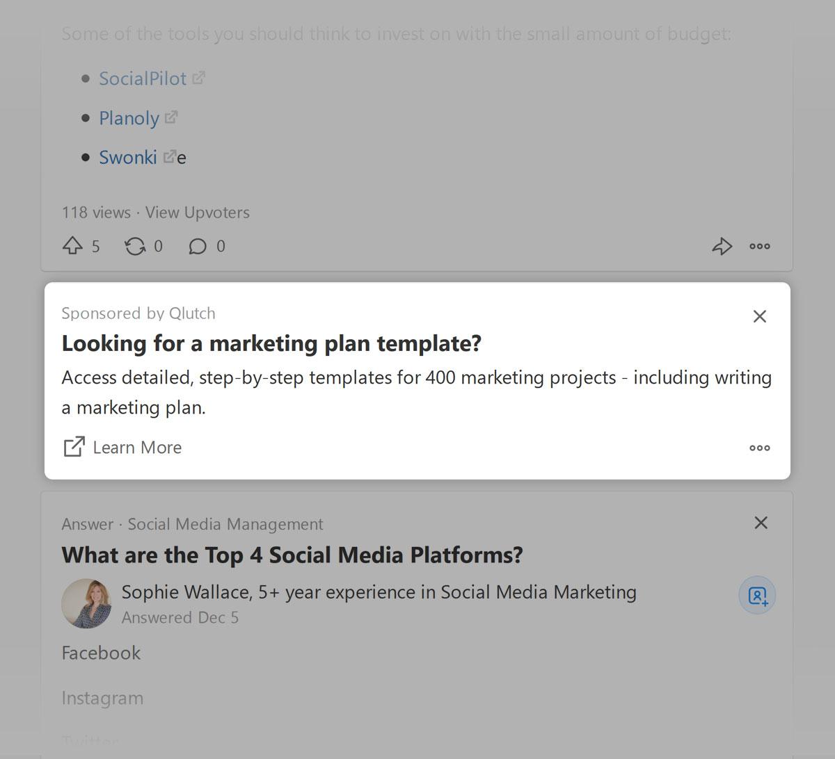 Quora - text ad example