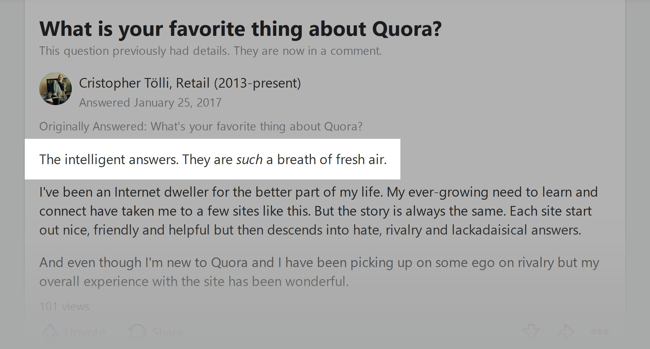 Quora - the quality of the answers