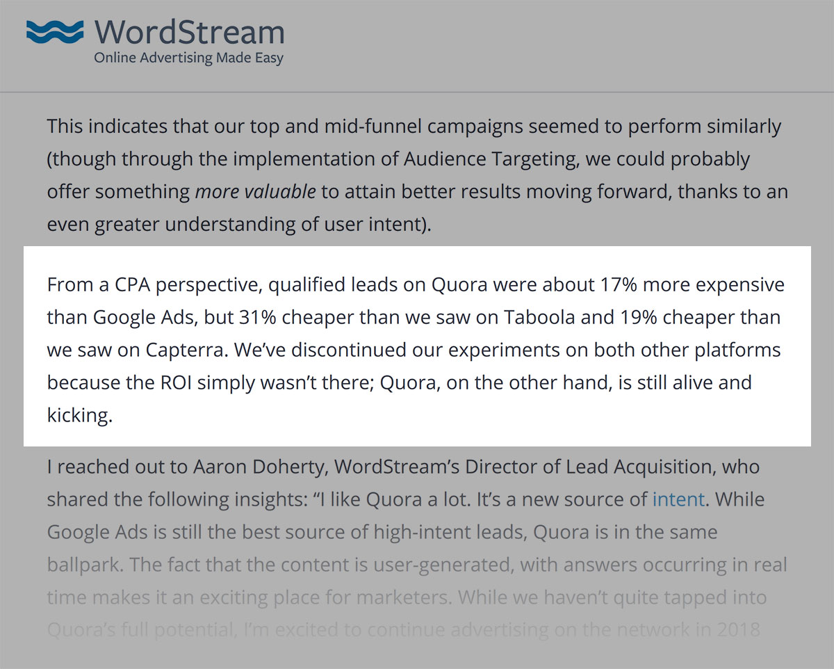 Wordstream case study quote
