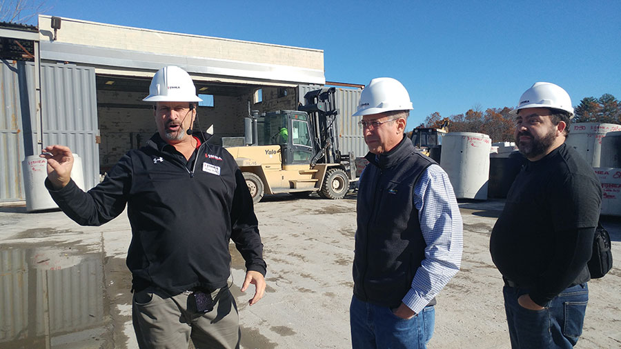 Greg Stratis of Shea Concrete giving a tour