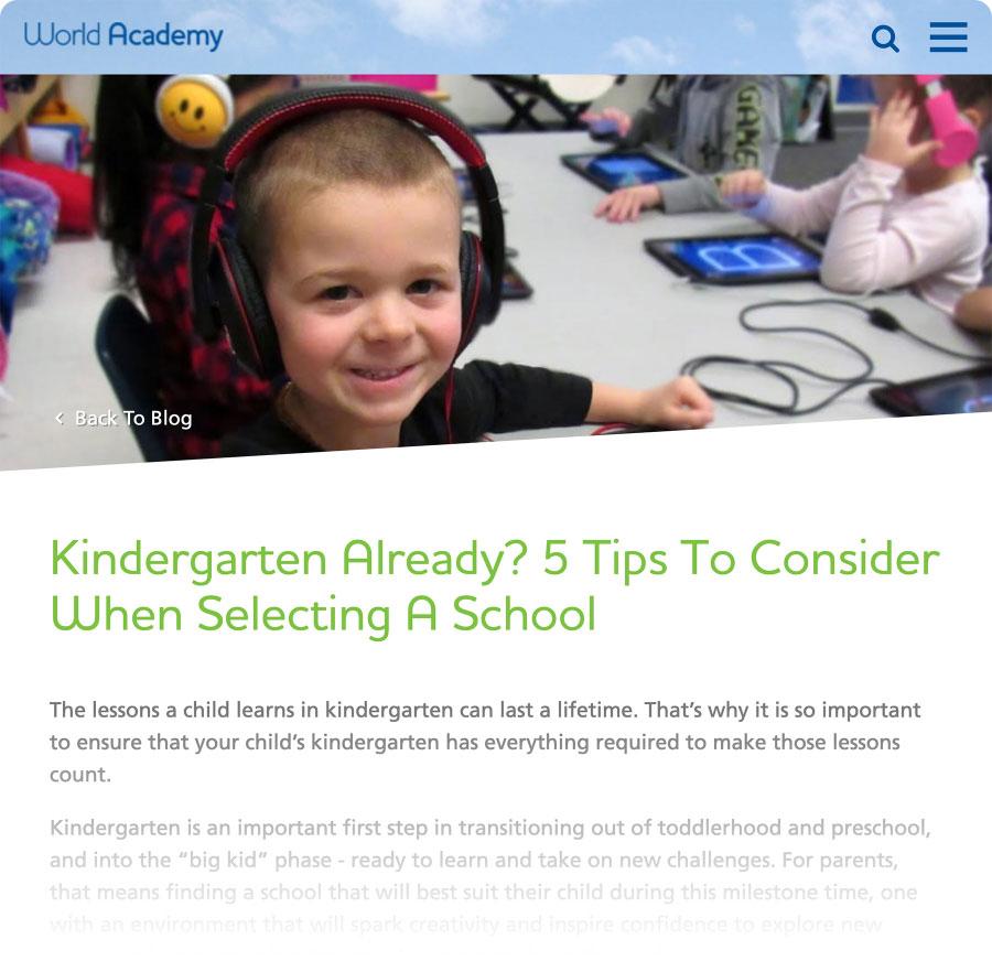 Screenshot of World Academy article
