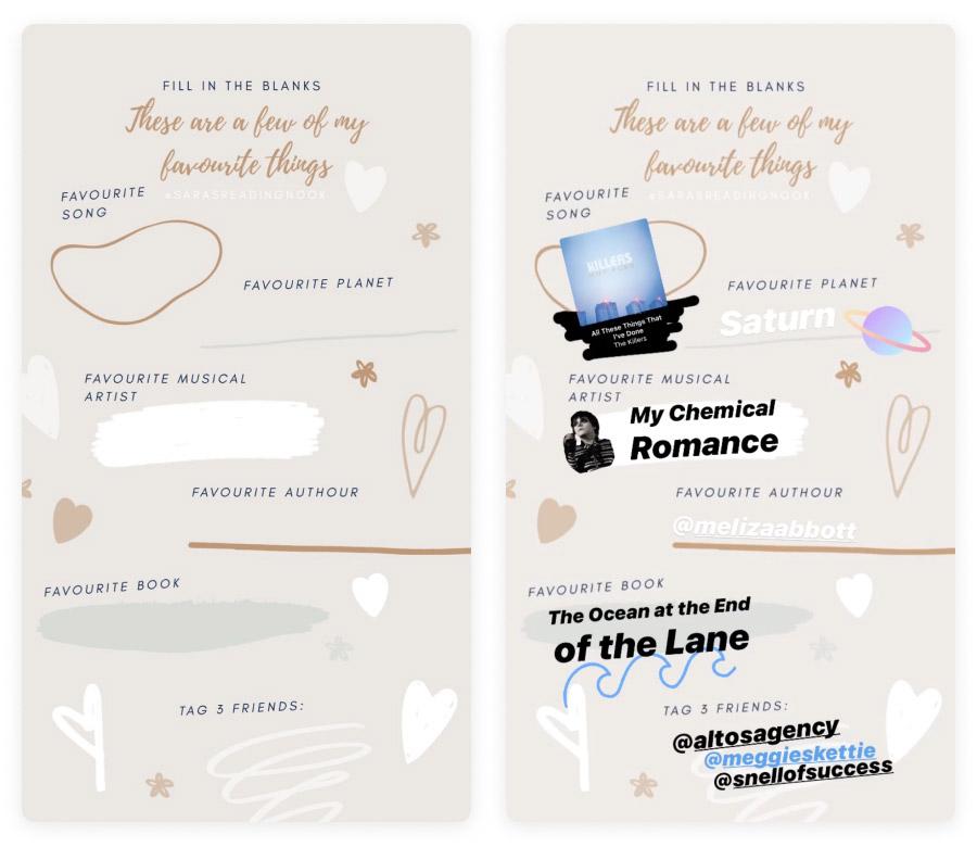 Instagram Stories - fill in the blanks