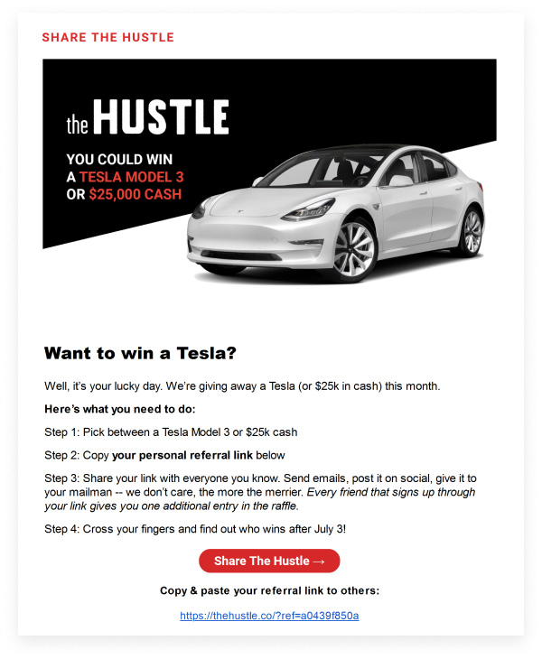 The Hustle email example