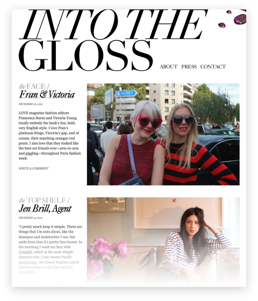 Into the Gloss - blog circa 2010