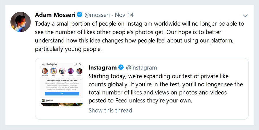 Adam Mosseri Tweet