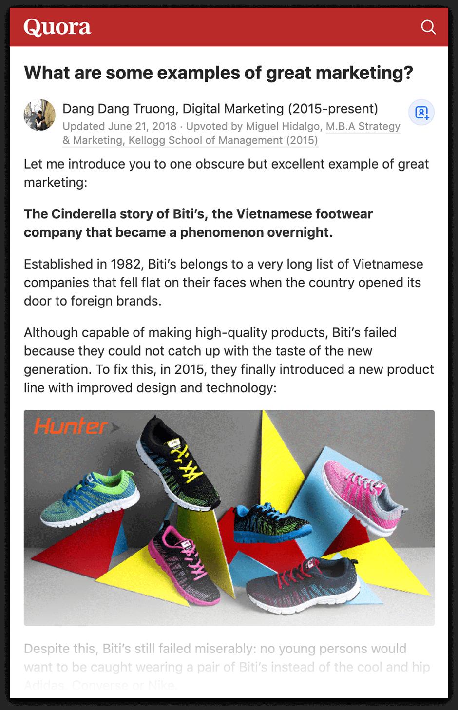 Quora - Biti's sneakers example