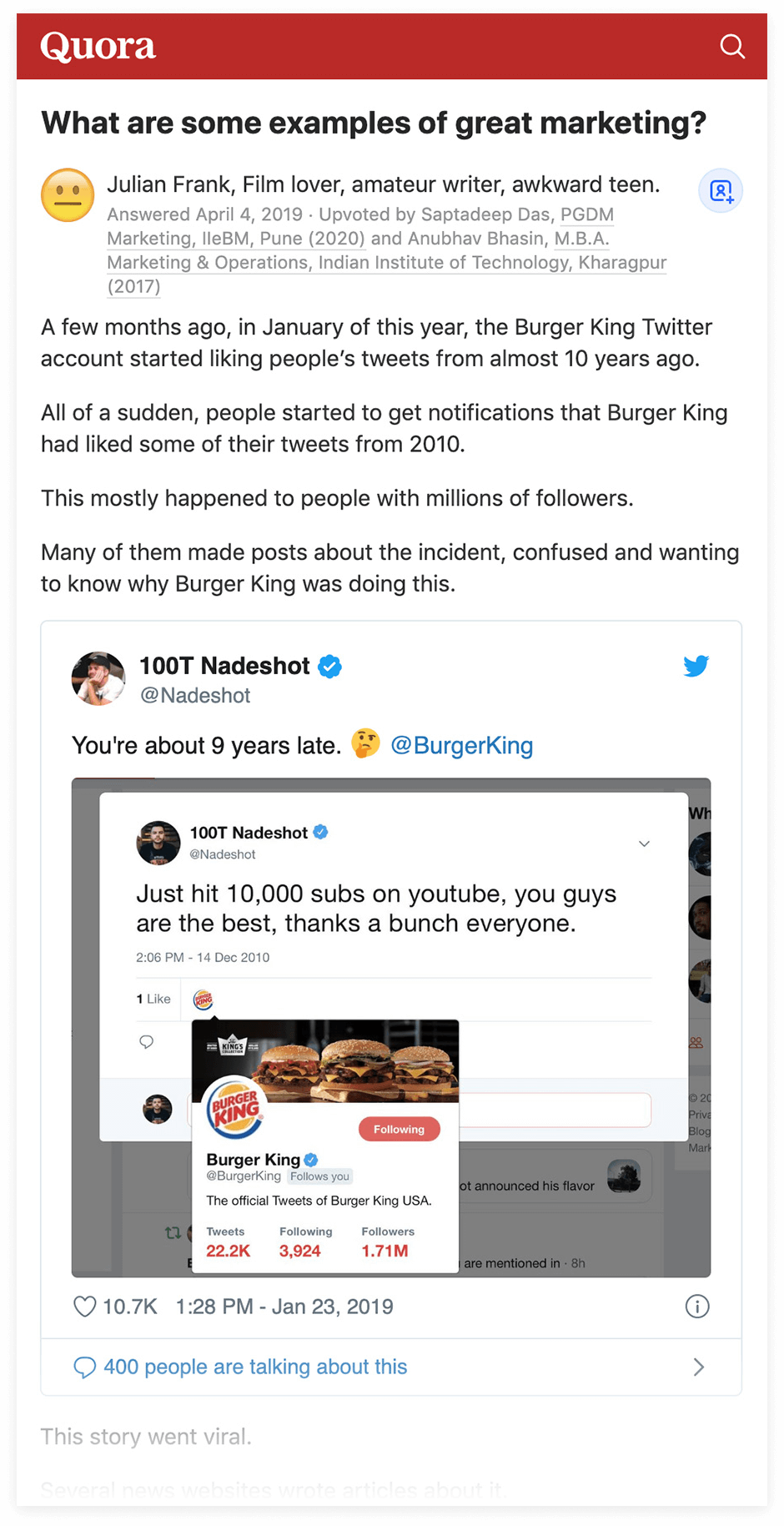 Quora - Burger King example