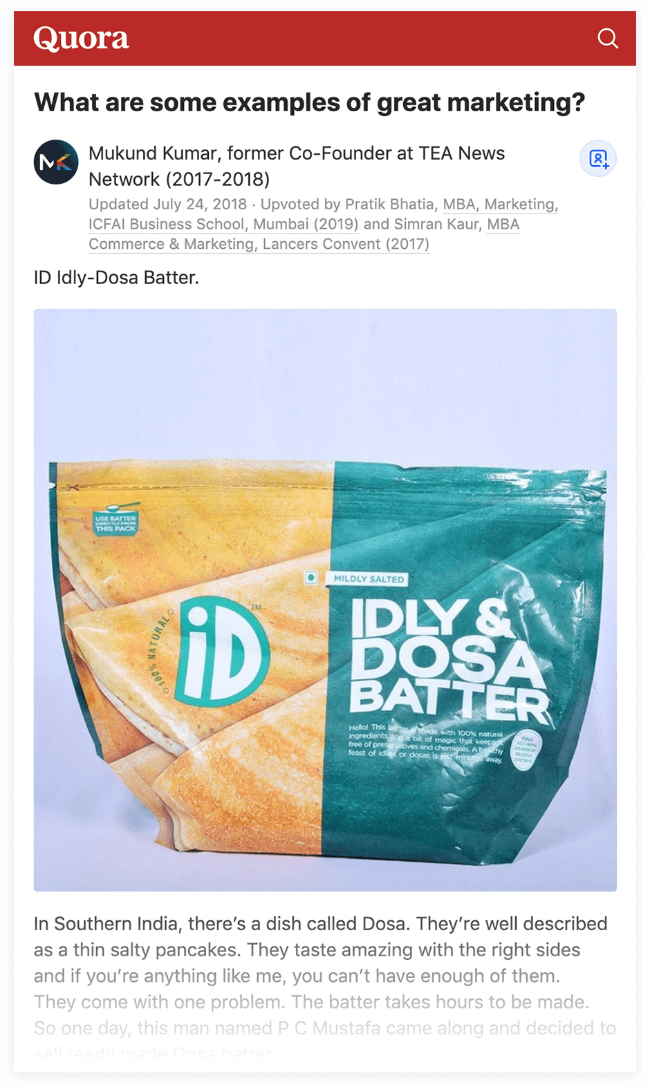 Quora - Dosa Batter example