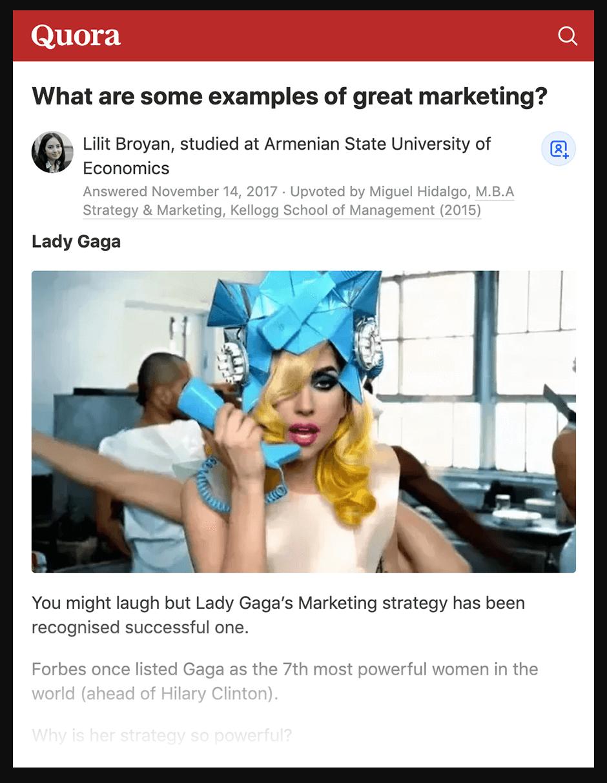 Quora - Lady Gaga example