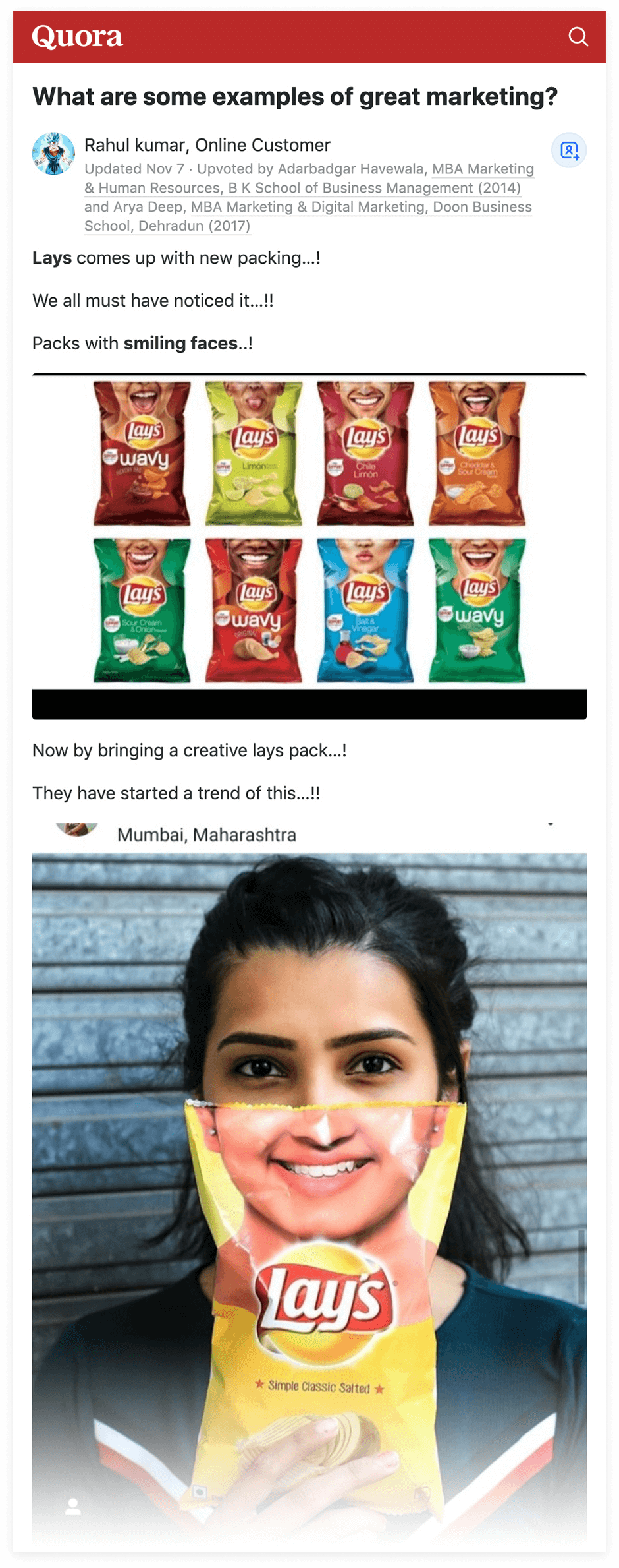 Quora - Lays smiling faces example