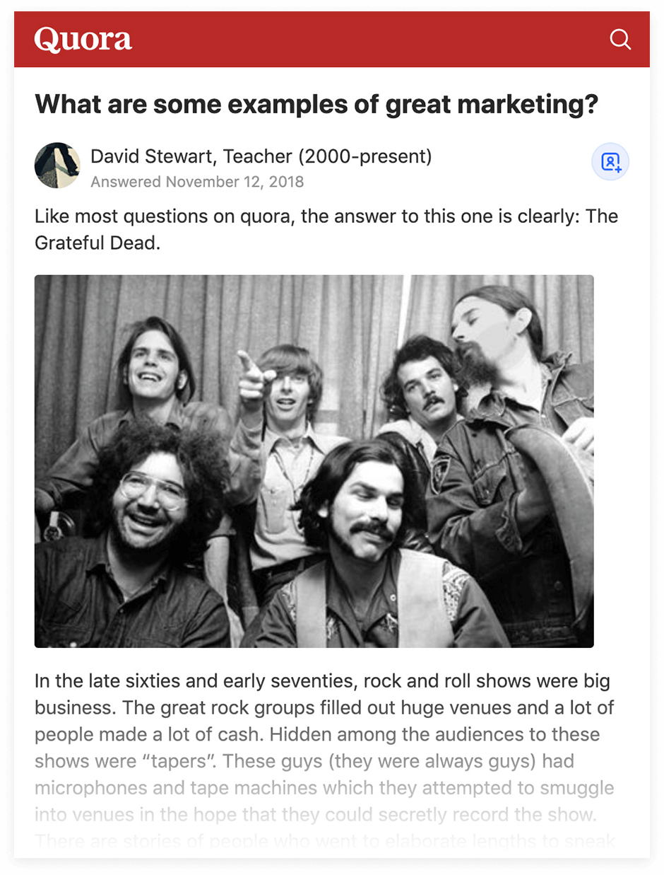 Quora - The Grateful Dead example