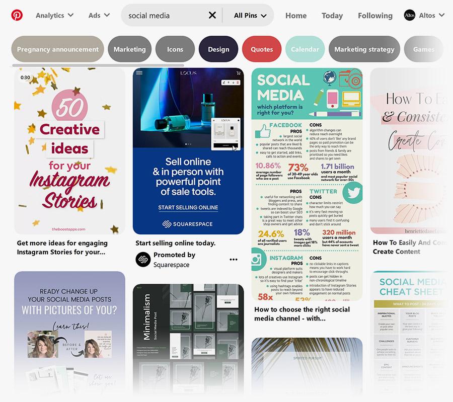 Pinterest - keyword search