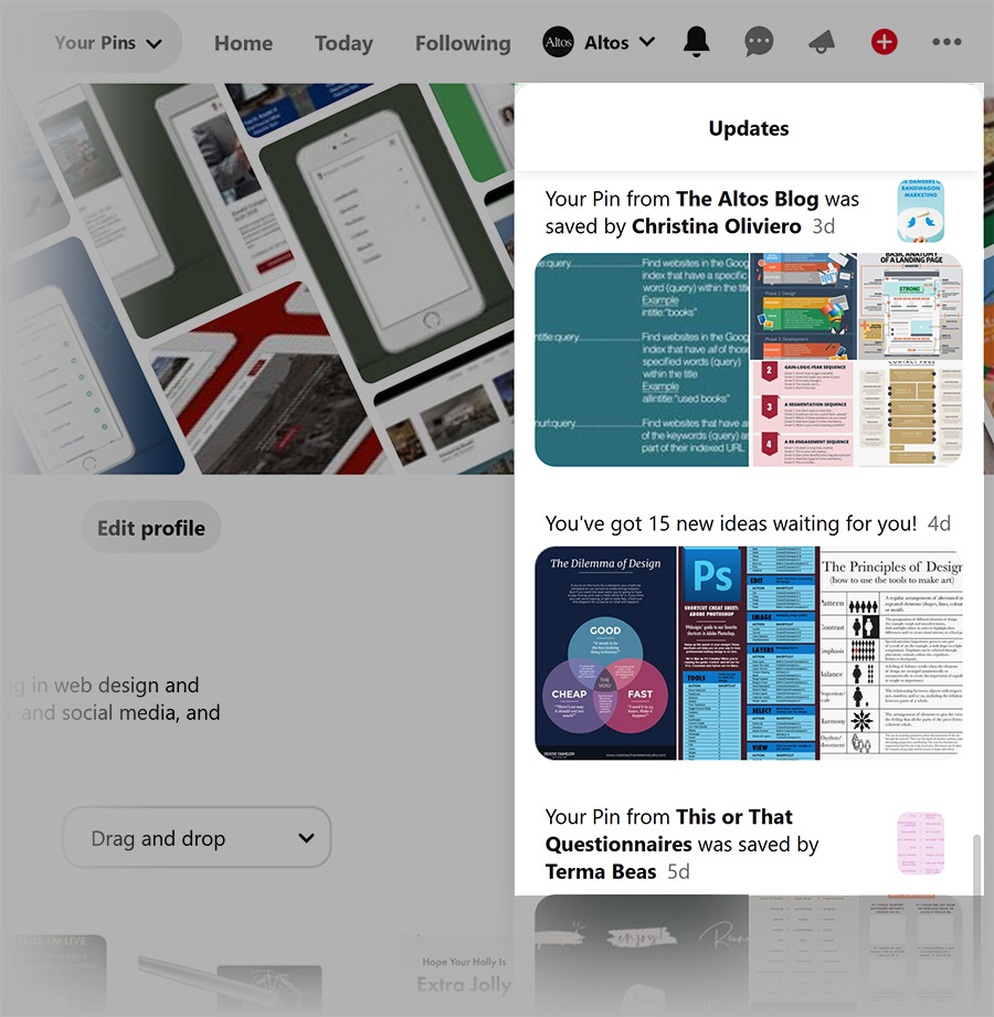 Pinterest - notifications