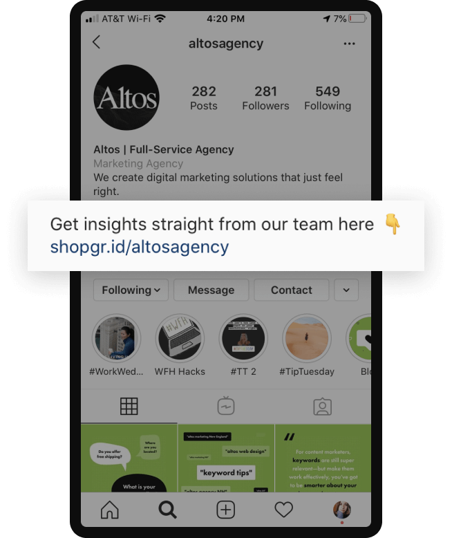 Instagram cta example