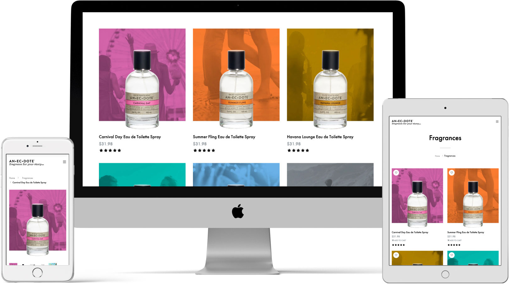 Anecdote Fragrances Website on Devices