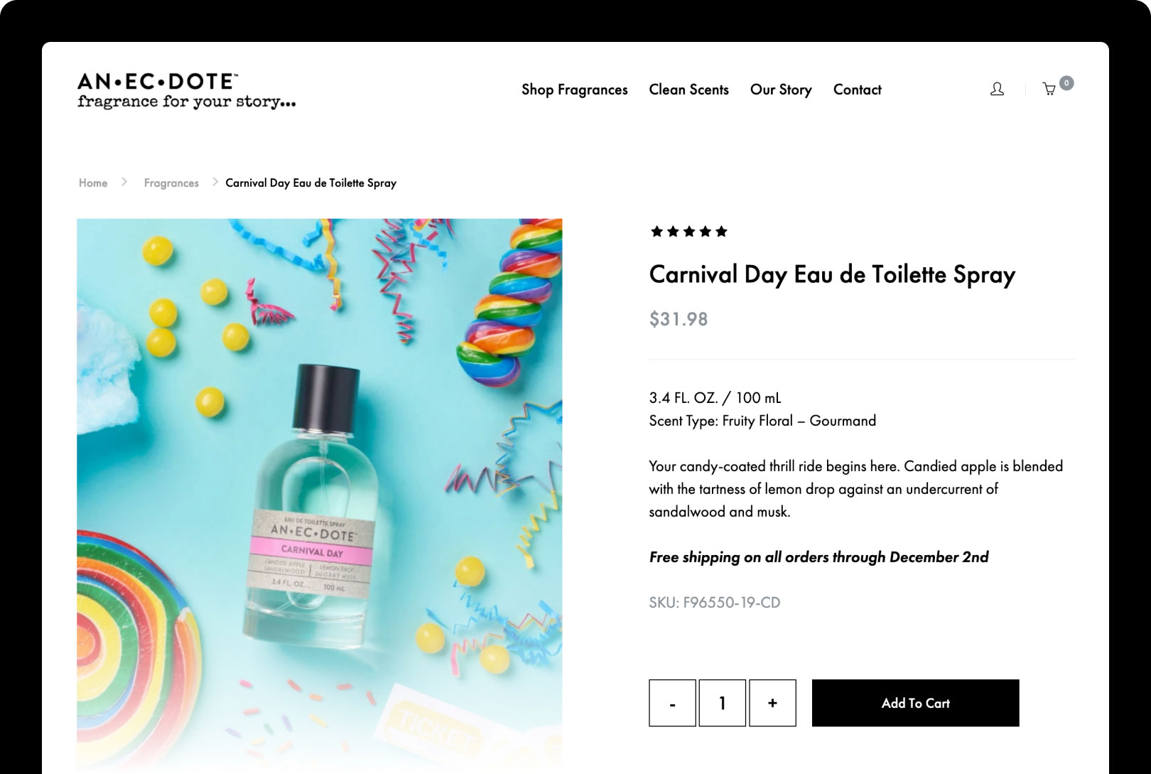 Anecdote Fragrances Product Page