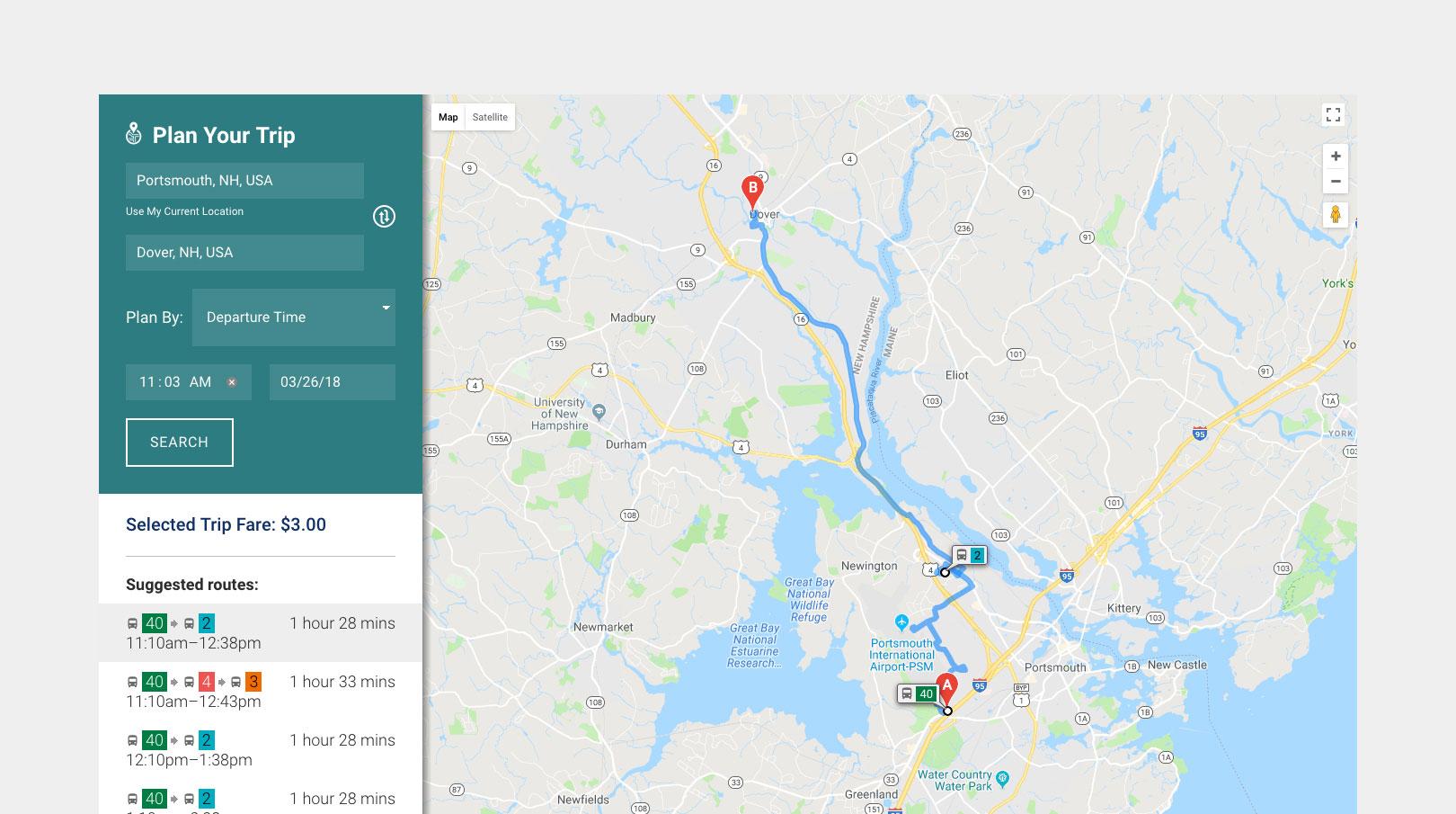 COAST Bus Trip Planner