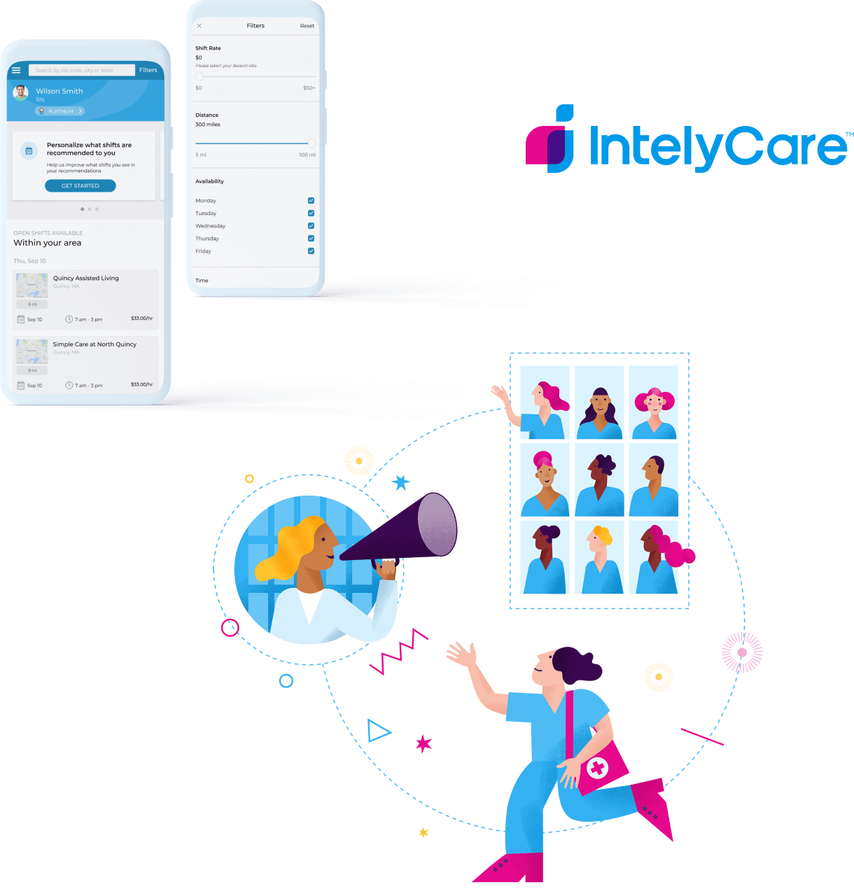 IntelyCare - Branding Collage