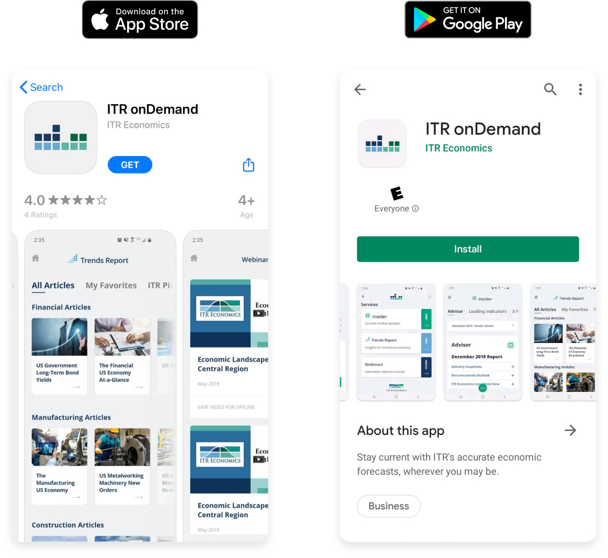 onDemand App shown in the Play and App Stores