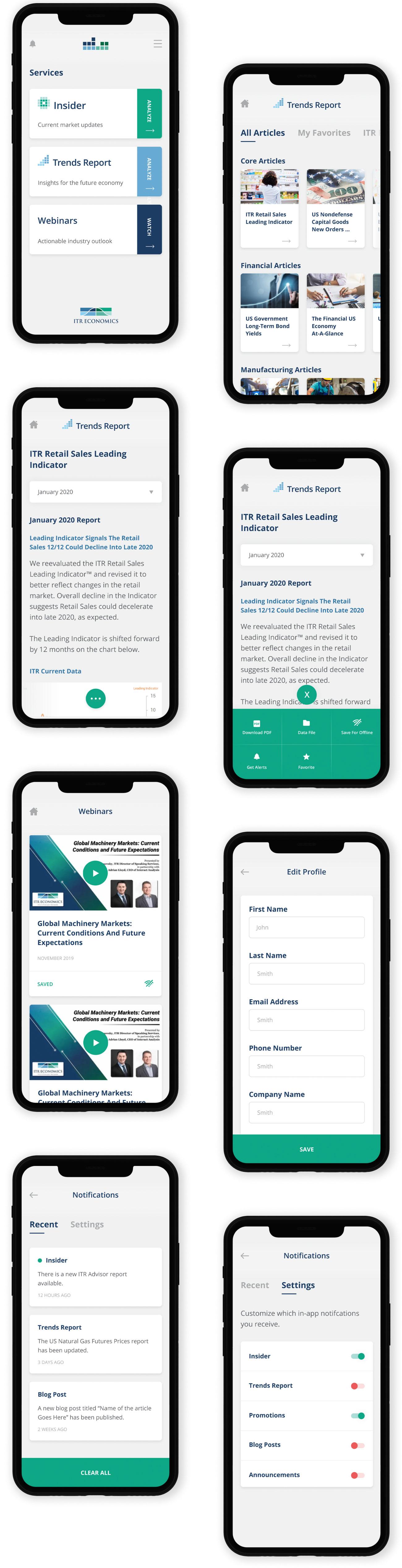 onDemand App report screens