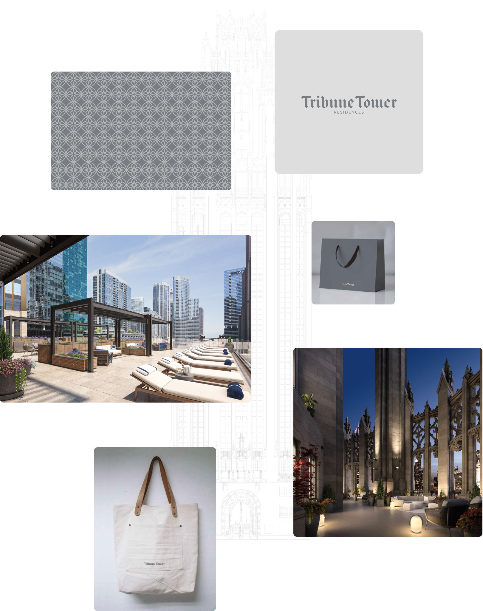 Tribune Tower collage of branding assets