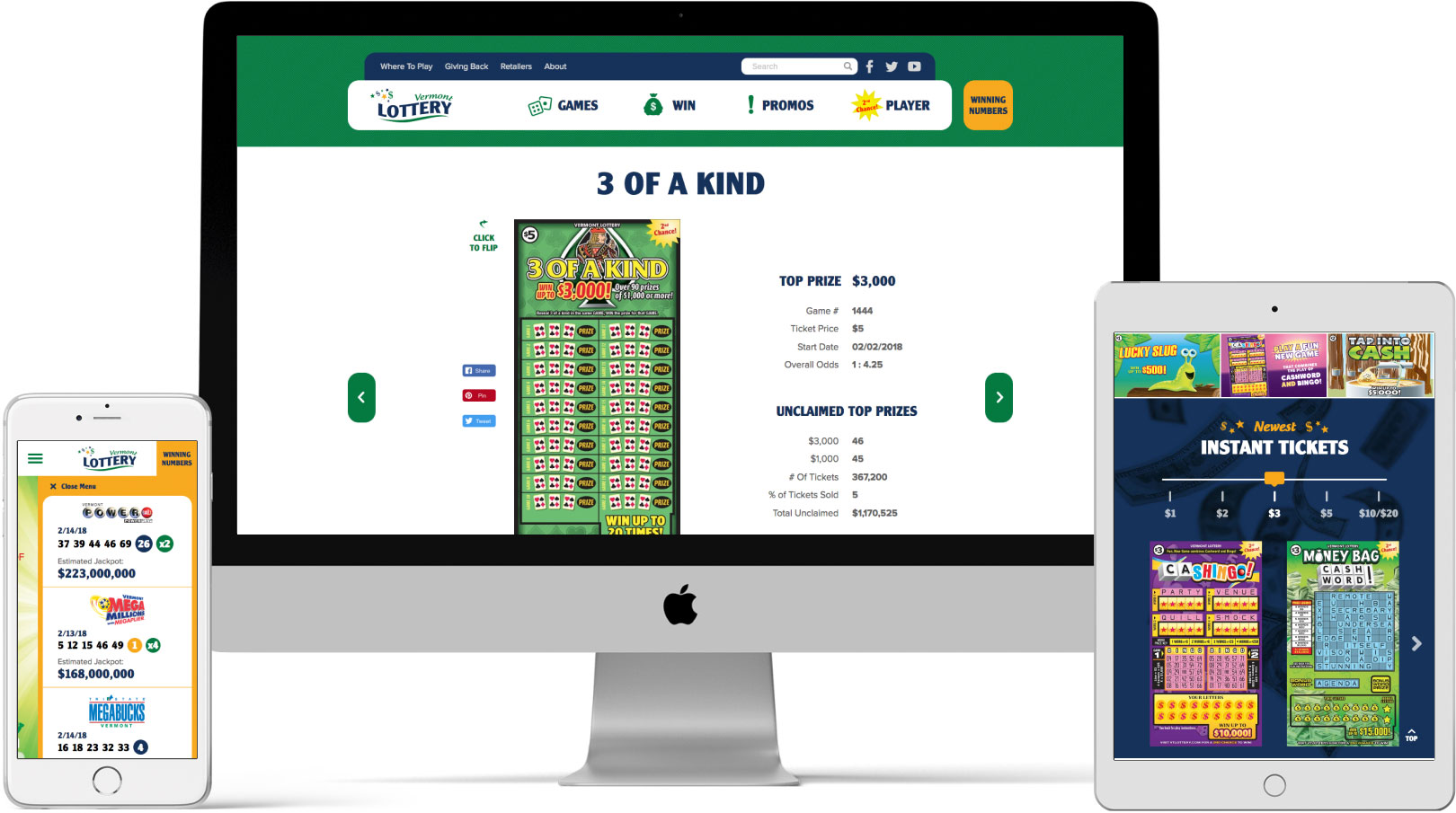 Vermont Lottery Responsive Devices