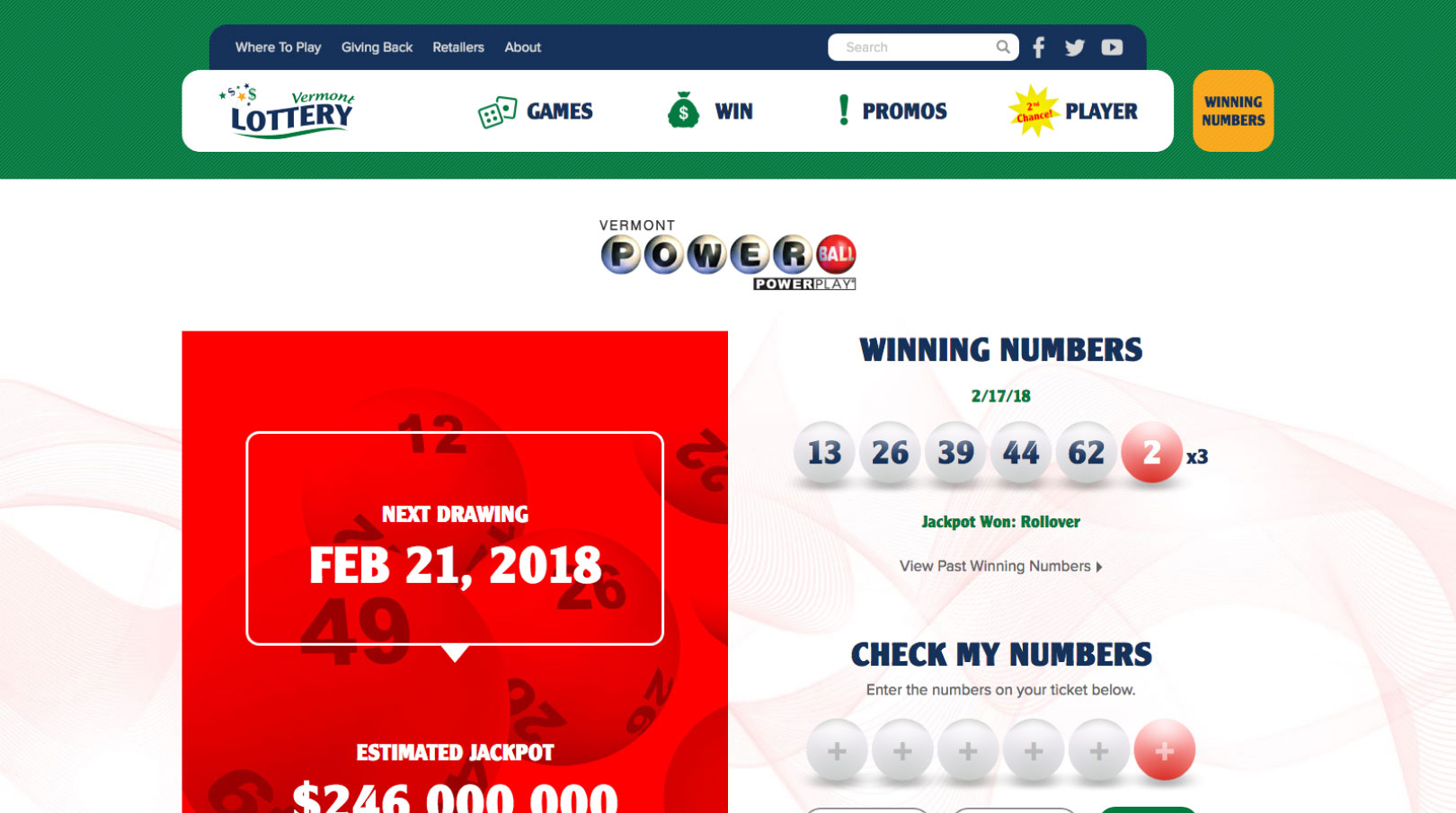 Vermont Lottery game